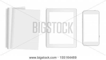 Blank pages tablet computer and mobile phone isolated on white