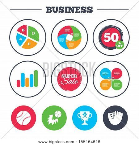 Business pie chart. Growth graph. Baseball sport icons. Ball with glove and two crosswise bats signs. Fireball with award cup symbol. Super sale and discount buttons. Vector