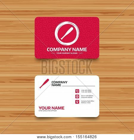 Business card template with texture. Baseball bat sign icon. Sport hit equipment symbol. Phone, web and location icons. Visiting card  Vector