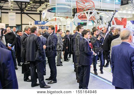 St. Petersburg, Russia - 4 October, Large crowd of people on the Gas Forum, 4 October, 2016. Petersburg Gas Forum which takes place in Expoforum.