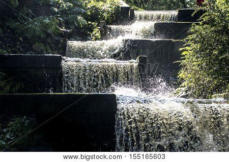Hamburg City Park Green Fountain and Waterfall