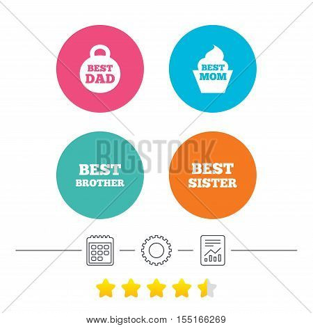 Best mom and dad, brother and sister icons. Weight and cupcake signs. Award symbols. Calendar, cogwheel and report linear icons. Star vote ranking. Vector