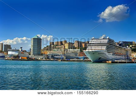 Genova, Italy - September 25, 2016: cruise ship in port Genova Ligure Italy