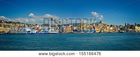 Genova, Italy - September 25, 2016: passenger cruise ship in port Genova, Ligure Italy