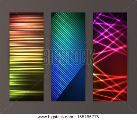 Vertical Banner Set Design Element Background Glow Abstract Shape21
