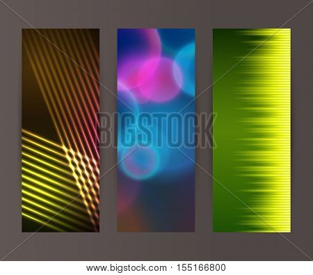Vertical Banner Set Design Element Background Glow Abstract Shape22