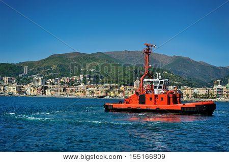 Fire Fighting boat in port Genova, Pegli , Italy