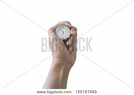 woman hand holding clockconcept save and keep time.