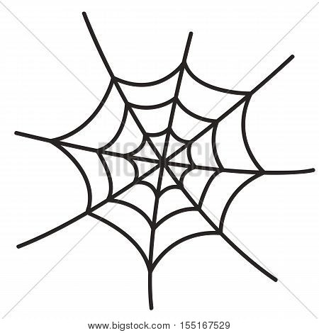 Black spider web isolated on white background