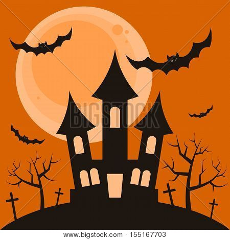Halloween night background with the terrible house