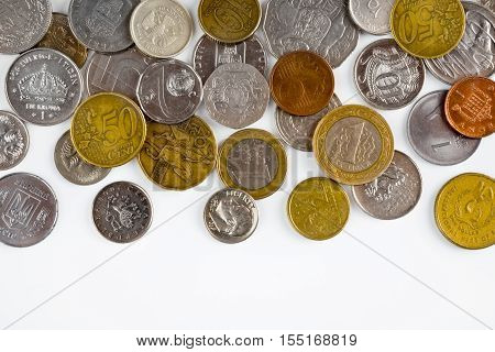 Coins isolated on white background with copy space