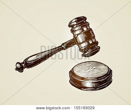 Gavel, hammer of judge or auctioneer. Sketch vector