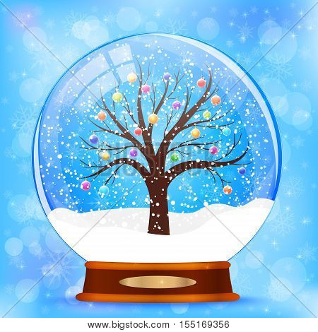 A snow globe with christmas tree vector background
