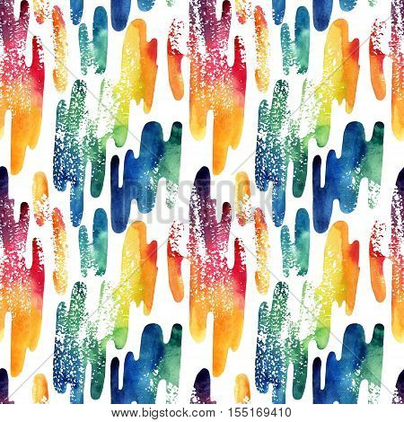 Watercolor wavy liquid shapes seamless pattern. Abstract geometric grunge destressed background. Modern style trends. Hand painted abstract illustration
