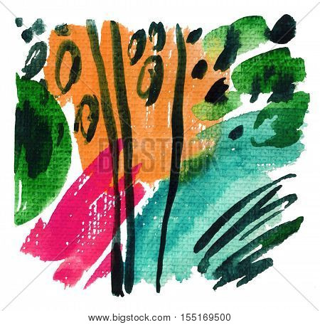 Abstract watercolor background. Modern art painting with brush wet and dry strockes paint stripes on rough textured paper. Hand painted abstract illustration