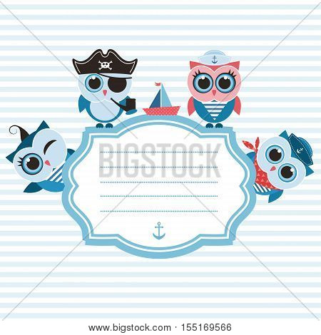 Frame with cute blue sailor owls and boat
