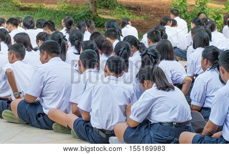 LOEI THAILAND - JULY 27: Unidentified students secondary education in High school are lined up in the morning uniform student Education in Thailand on JULY 27 2016