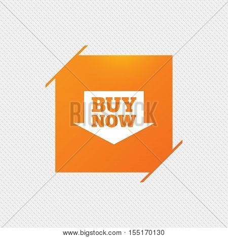 Buy now sign icon. Online buying arrow button. Orange square label on pattern. Vector