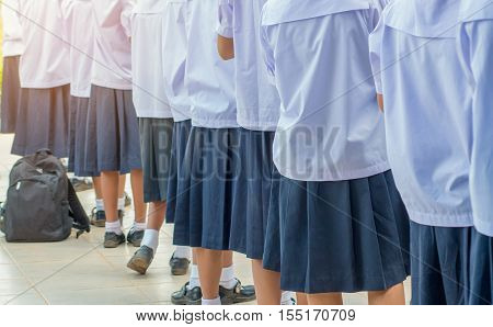 Thailand secondary education students are standing in line in morning uniform student in thai school education