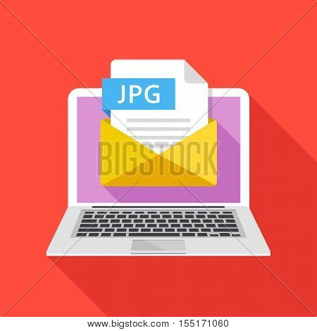 Laptop with envelope and JPG file. Notebook and email with file attachment JPG image. Trendy graphic elements for websites, web banners, mobile app. Modern long shadow flat design. Vector illustration