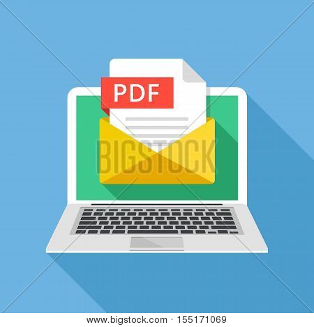 Laptop with envelope and PDF file. Notebook and email with file attachment PDF document. Graphic elements for websites, web banners, mobile app. Modern long shadow flat design. Vector illustration