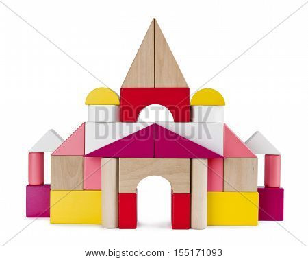 Colorful tower castle from toy bricks isolated on white