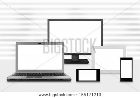 Composition of computer monitor screens on venetian blinds background