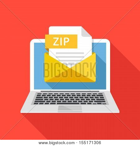 Laptop with envelope and ZIP file. Notebook and email with file attachment ZIP archive. Trendy graphic elements for website, web banner, mobile app. Modern long shadow flat design. Vector illustration
