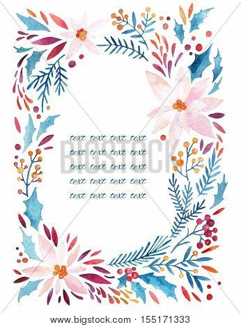Watercolor ornate flowers holly seeds twigs wreath. Flourish circle: detailed poinsettia petals leaves natural elements on white background. Hand painted floral illustration for winter design