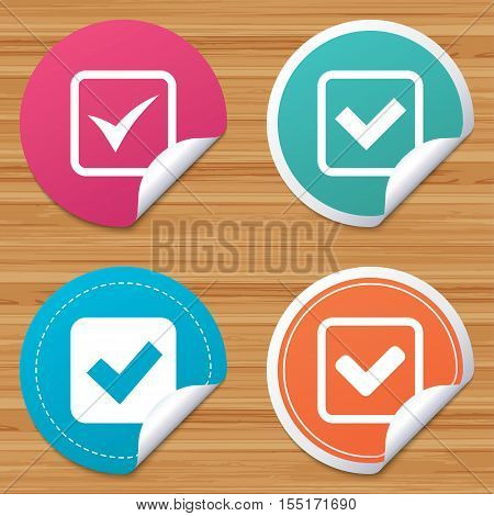 Round stickers or website banners. Check icons. Checkbox confirm squares sign symbols. Circle badges with bended corner. Vector