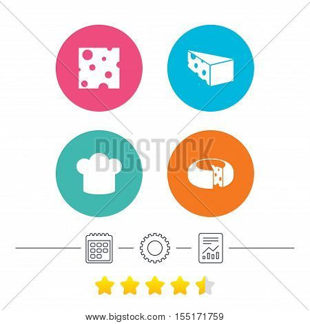 Cheese icons. Round cheese wheel sign. Sliced food with chief hat symbols. Calendar, cogwheel and report linear icons. Star vote ranking. Vector
