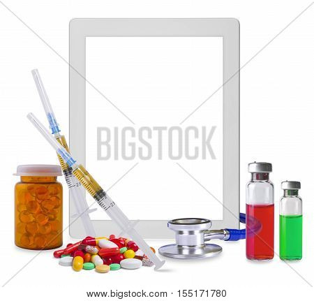 Composition of tablet pc and medical supplies