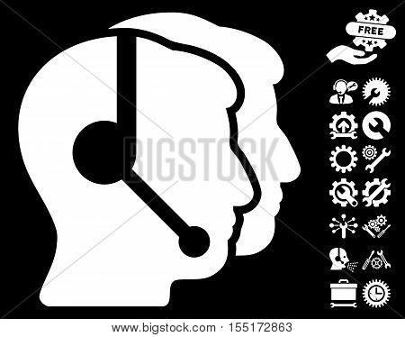 Call Center Operators icon with bonus configuration clip art. Vector illustration style is flat iconic symbols on white background.