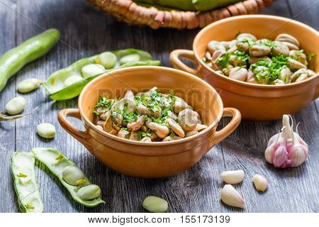 Closeup Of Broad Beans Served With Parsley