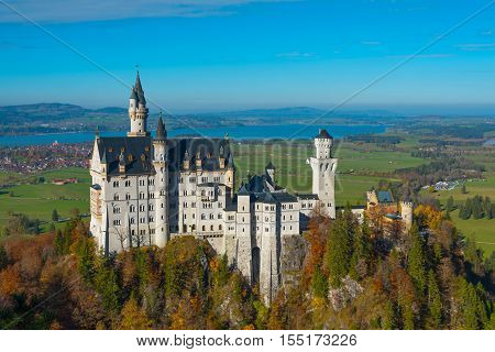 Breathtaking view from Mary's bridge on the famous medieval Neuschwanstein castle in autumn/fall