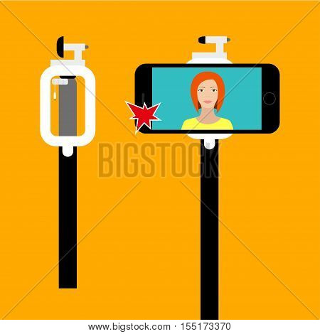 Selfie stick Vector illustration Poster with folded selfie stick and phone to selfie stick Flat design