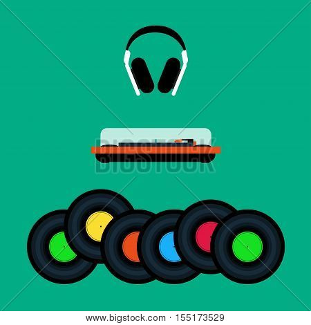Headphones, a turntable and set of vinyl records Flat design