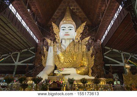 Gigantic Buddha image in Ngahtatgyi temple, Yangon, Myanmar