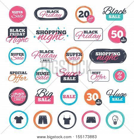Sale shopping stickers and banners. Clothes icons. T-shirt and bermuda shorts signs. Swimming trunks symbol. Website badges. Black friday. Vector