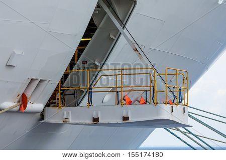 Hatch on White Hull of Cruise Ship