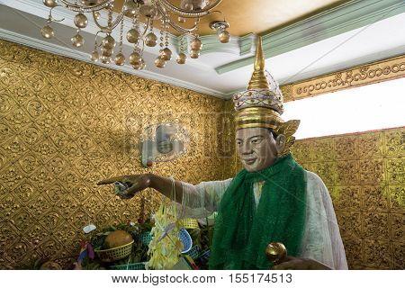 YANGON, MYANMAR - 9 OCTOBER 2016: Rohani Bo Bo Gyi, Believed to be the guardian spirit (called Nat) of Botataung Pagoda, Yangon, Myanmar