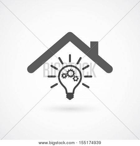 lightbulb with gears as idea symbol - under house roof, conceptual icon