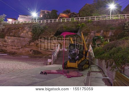 5th of November 2016 Bondi Beach Sydney Australia. Sculpture by Markus Hofer titled The tractor taken with long exposure during the Sculpture by the Sea event