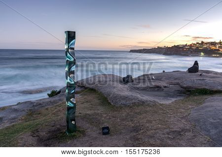 5th of November 2016 Bondi Beach Sydney Australia. Toshio Lezumis M151201 sculpture during the Sculpture by the Sea yearly free outdoor exposition