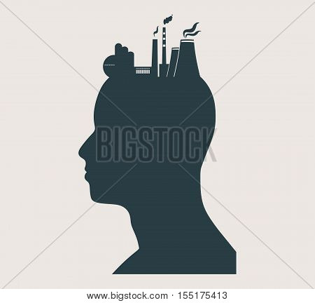 Head with factory for brain. Heavy industry and atom energy. Vector illustration