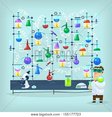Poster with biochemistry chemist conducting chemical experiment in his laboratory full of flasks funnels dishes tubes and other equipment.