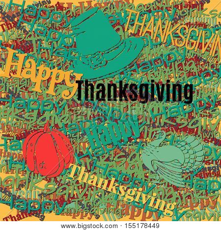 Happy Thanksgiving day holiday background. Multilayer Pattern with the pilgrim hat turkey pumpkin. Cut out of a colored paper. Vector illustration. Good for print the wrapping paper.