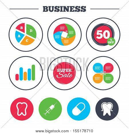 Business pie chart. Growth graph. Tooth enamel protection icons. Medical syringe and pill signs. Medicine injection symbol. Super sale and discount buttons. Vector