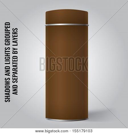 Brown Blank Tin can packaging mockup. Tea coffee dry products gift box. Place your design over the box.