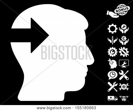 Head Plug-In Arrow pictograph with bonus setup tools images. Vector illustration style is flat iconic symbols on white background.